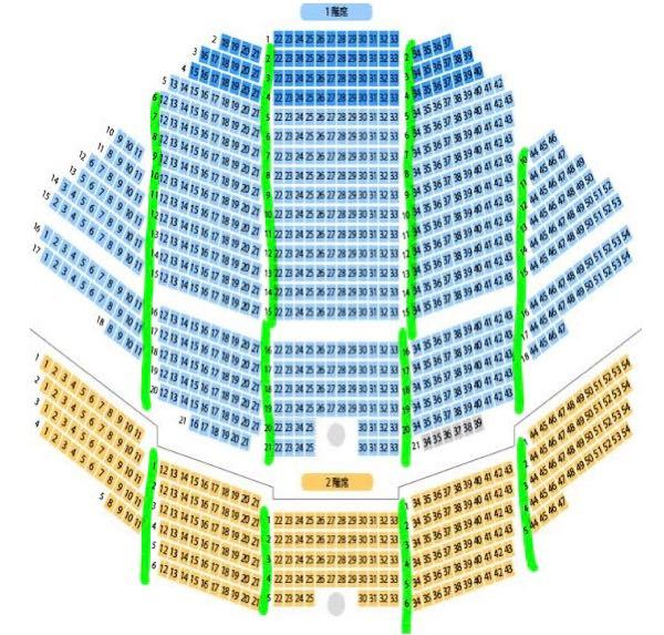 舞台 ミュージカルについて よく言われる通路席というのはこの緑の線の左右の座席というのであってますか??