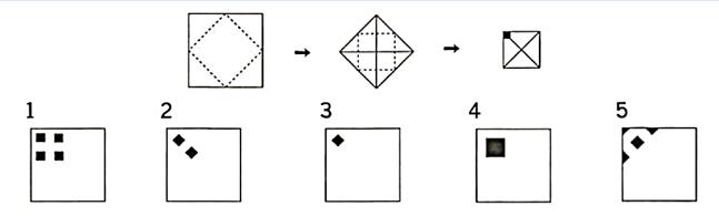 公務員 判断推理の問題です 下図のように正方形の紙を点線部分で折って、最期にはさみで黒く塗った部分を切り取る。是を広げた時の図形として正しいのは、□である。 □の答えとできれば解説をお願いします( ;∀;)