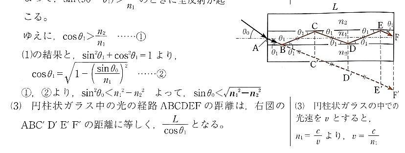 (3)の「L/cosθ1」ってABCDEFの距離をL'として cosθ1=L/L'よりL'=L/cosθ1 ということですか??
