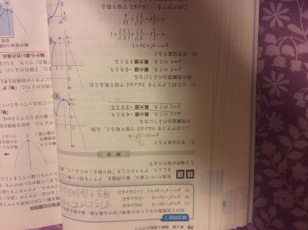 高校数学1A 二次関数の問題です。傍線部分がわかりません、どうやって計算すれば-6になり、-2になるのでしょうか? 代入法でやりましたがこのような回答にはなりませんでした。