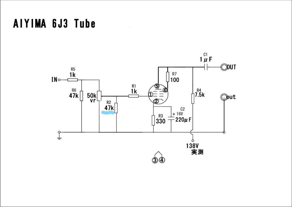 Tube 6J3仕様のプリアンプについてお尋ねします 添付の配線図はTube 6J3でのもので、R2は47KΩとなっています。 F社のTube 6j1使用のプリアンプではR2に当たる部分が10倍の470kΩです。 お教え頂きたいことは3点 1.回路中、R2の抵抗はどのような働きをするものでしょうか?。 2.R2の抵抗値を変えると音質にどう影響するのでしょうか?。 3.R2を変えると異常な発振が起こす場合がありますか?。 宜しくお願い致します (添付の回路図は、以前知恵袋でお教え頂いたものを流用させて頂いています)