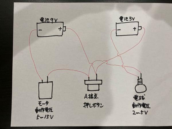 異なる電圧の電源が2つ以上ある場合の回路 添付画像を参照願います。 ・異なる電圧の電池が2個(3Vと9V) ・押しボタン1個 ・電球(動作電圧2〜5V) ・モータ(動作電圧5〜15V) 添付画像のように配線した場合、問題なく動作しますでしょうか? 電球に3V、モータに9Vの電圧を1つの押しボタンを押して動作させたいです。 問題がある場合、理由もわかりやすく教えていただけると助かります。 よろしくお願いします。