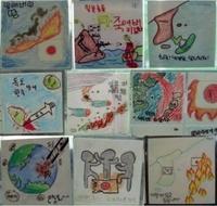 韓国の小学生が書いた絵です  小学校の美術の時間に書くみたいですよ 優秀な絵は地下鉄の駅に飾れたりポスターになったり これが素晴らしい教育 正しい歴史認識とゆうものでしょうか