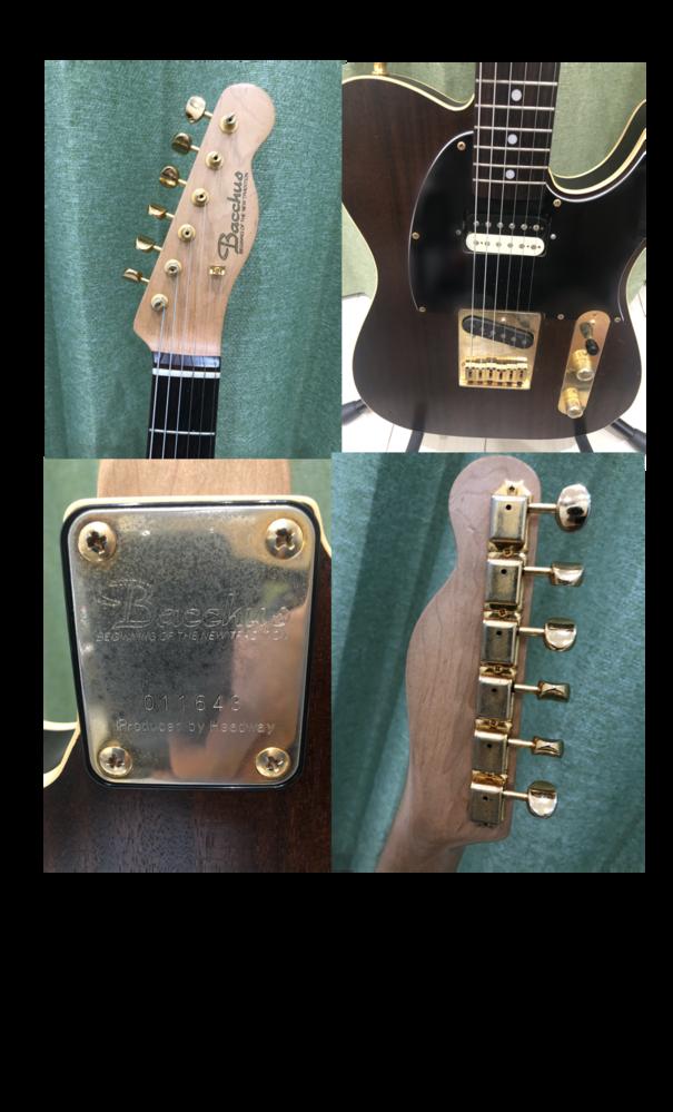 ギターに詳しい方にお聞きしたいです。 bacchusのBIGINNING OF THE NEW TRADITIONシリーズのテレキャスターを数年前に知人から譲り受けました。譲ってもらえるくらいだし、bacchusなので基本的にそこそこ安価なものだと思ったのですが、全てゴールドパーツだったり、6連ブリッジだったりと、ネットで調べてすぐ出てくるような型とは違う部分がいくつかあり、実際どのくらいの価値なのかよくわかりません。元の持ち主が好きなパーツにカスタムしただけの可能性がおおきいのですが、もしかしたら少し良いモデルなのかなと思い、有識者の方に見ていただきたく投稿しました。 わかる方居ましたら回答お願いします ♂️