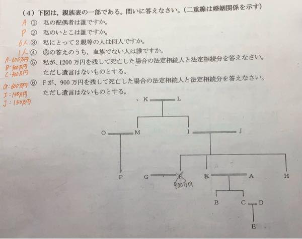 家庭 親族表の問題です 法定相続人 法定相続分 6番の求め方がわかりません。式をつけて教えてください。 よろしくお願いします