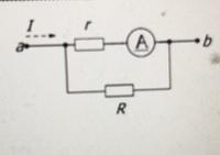 この問題解ける方居ましたら、至急 解答と途中式お願いしますm(_ _)m 図の回路のように、電流計A(最大目盛(フルスケール)Iaf=10mA 内部抵抗r=99mΩ)を最大目盛 I=1.0Aの電流計として使用したい。 並列抵抗(分流器)Rの値を求めよ。 有効数字2桁で解答せよ。