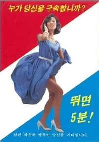 画像は以前朝鮮半島の南北軍事境界線(38度線)付近の朝鮮人民軍の若い兵士たちに向けて、大韓民国側の脱北者などが撒いたビラです。 「走れば5分!」と印字されています。これを見て境界線を越えようと兵士たちが走ったら、韓国側に無事に「ゴール」するのは何人に1人くらいでしょうか?