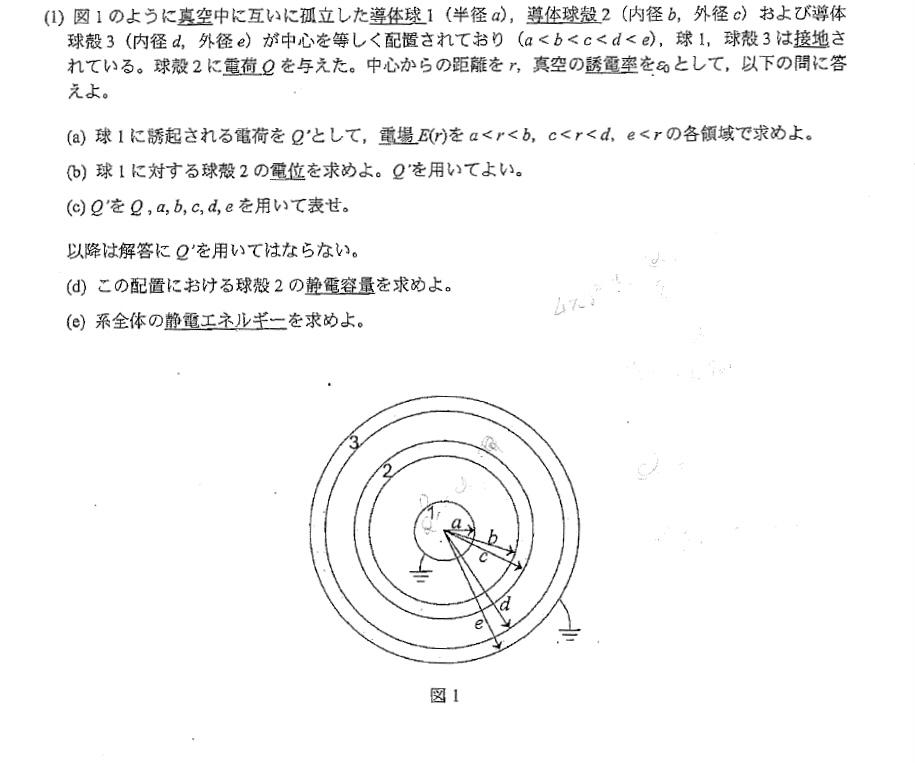 (c)の回答が分かりません。 球殻の内と外の電位を等号結べばいいと言う回答の道筋はわかるのですがわかる方いらっしゃいましたらご教授のほどお願いします。