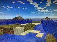 マインクラフトjava版です。主に海がこのような状態で表示されるのですが、対処方法を教えてください。