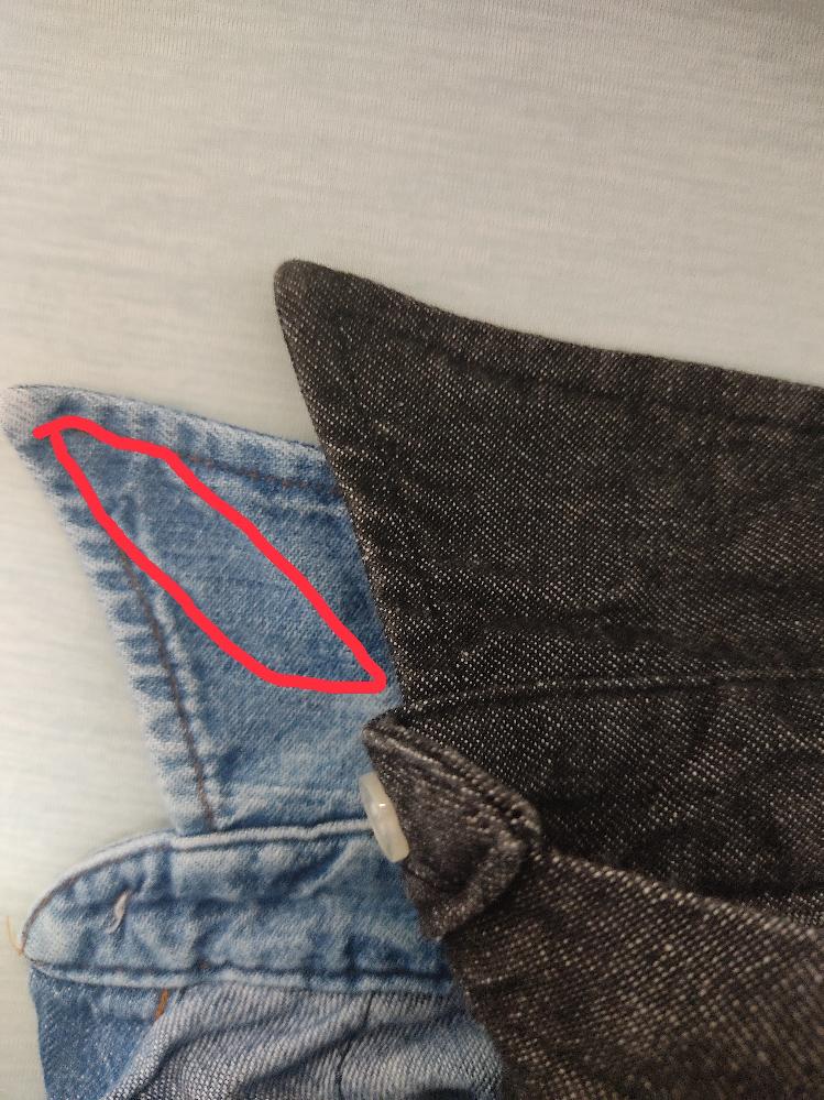 デニムシャツ、シャンブレーシャツの内側に縫い込まれているカラーステイを取りたいです。 枚数があるため安いものは自分でやりたいと思っています 触った感じ襟先のステッチを外して生地を切れば取れそうです 普段見えるところではないんですができるだけ目立たないようにしたいです 裁縫を全くやらないのでわからないんですがどういう針や糸を選べば良いですか?