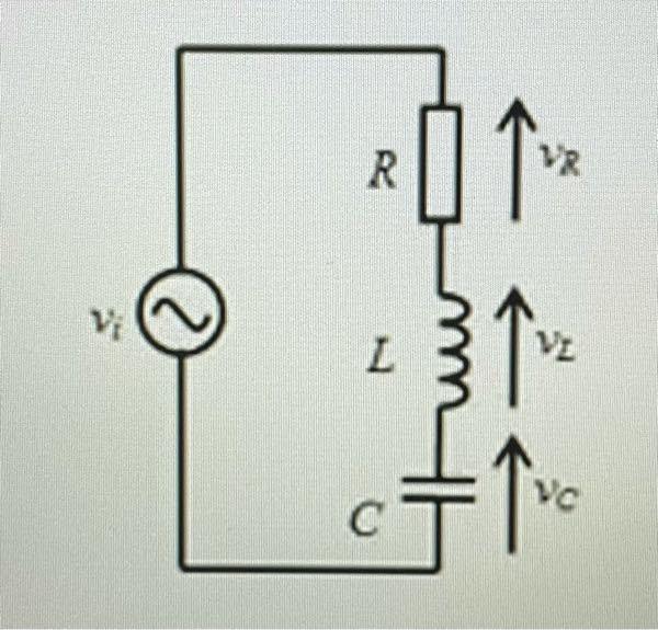 図のR-L-C直列回路に正弦波電圧vi:1Vを入力する。ただし、R:0.1Ω、L:0.1mH、C:1μF ω=ωoの時、素子両端の電位差vR、vL、vCをそれぞれ求めよ 電流imax=10A 分...