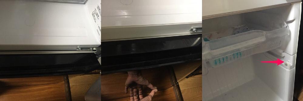 三菱2ドア冷蔵庫2015年製(形名MR-P15Y-B) 引き出しタイプ冷凍庫のドアがぴたっと閉まらず隙間から冷気が漏れています。 パッキンの劣化でしょうか?内部をくまなく確認しましたがレールなどに何か物が挟まってるとか、霜が固まっているというようなことはないです。 ちなみに、パッキンを上下逆に取り付けてみましたが同じように隙間ができます。 写真のように下から持ち上げるとガタついており、隙間はなくなります。 矢印の部分が摩耗してるようにも思えます。メーカー依頼すると費用がかさむので自分で何とかしたいのですが、原因としては何が考えられますか? もし矢印の部品が原因としたらそれの取り寄せは可能でしょうか?