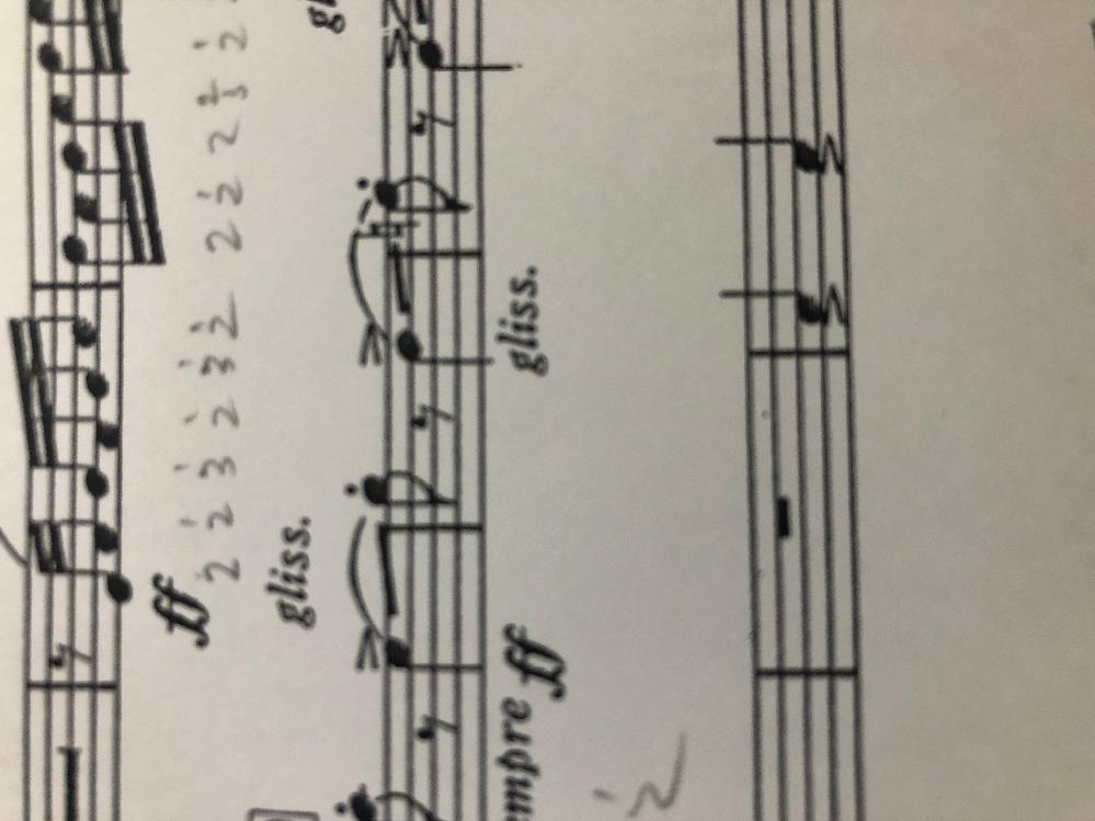 アルメニアンダンスのホルンの楽譜なんですが、画像の部分はグリッサンドとしてバルブを動かして演奏するのでしょうか?? それとも口で音を変える演奏の仕方でしょうか?? 波の形になっているものしか見た事がなくて...