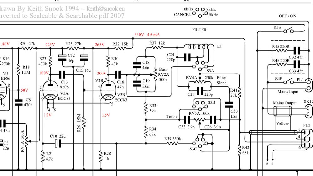QUAD 22プリアンプを変換ケーブルを自作し、LEAK TL12 plusに接続しているのですが、どうしても僅かにハムが出てしまいます。 QUAD 2 にLEAKのまたはQUAD22のプリアンプを繋いだ場合はハム含め異常ありません。 回路図の抵抗 R42を100kの抵抗に変えてみましまたが変化なく、R32の抵抗部に22ufの電解コンデンサを追加してみてもやはり変化ありません。 音楽を再生すれば全く聞こえないレベルなのですが、やはり無音時に気になってしまいます。 何か解決策ありますでしょうか?