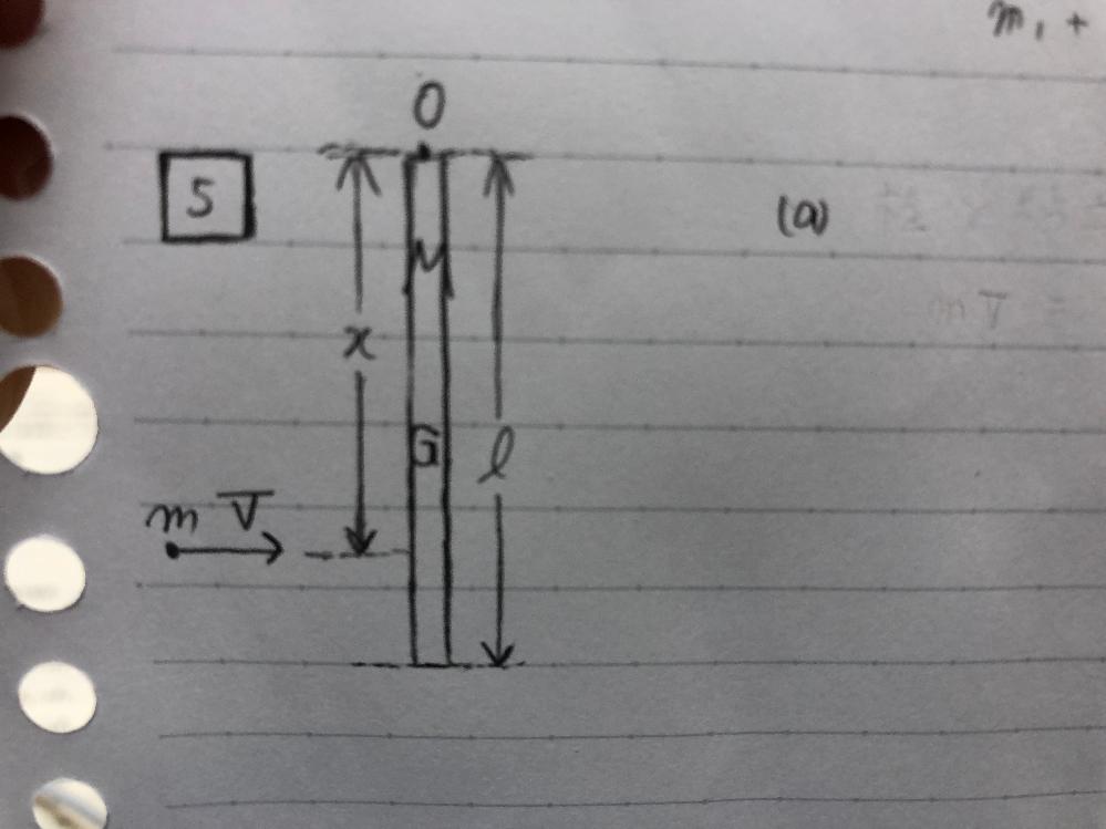 写真のように、上端Oが固定され、点O周りに自由に回転できる質量M、長さlの剛体棒があります。静止している棒の、点Oから距離xの位置に、質量mの質点が速度Vで飛んできて、くっつくとします。 その瞬...