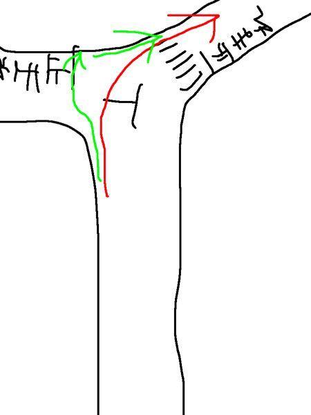 画像のような交差点を自転車で通る時、緑矢印と赤矢印のどちらを通るべきですか? ちなみに自転車横断帯はありませんでした。