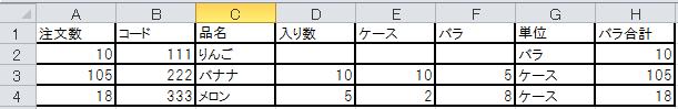 エクセルの関数で教えて下さい。 A列の注文数からG列がバラの時は、そのまま注文数をH列のバラ合計に、 G列がケースの時は、D列の入り数からE列のケース数とF列のバラ数を出してH列のバラ合計を出すには、どのようにしたらよいでしょうか。 宜しくお願いします。