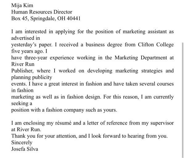 5. Who would most likely qualify for this job? (A) A fashion model (B) A book publisher (C) A fashion designer (D) A marketing major 6. When did the advertisement appear in the newspaper? (A) September 21 (B) September 22 (C) September 29 (D) September 30 7. What is Mija Kim's job? (A) Marketing assistant (B) Marketing director (C) Human resources director (D) Fashion designer 8. Where did Josefa Silva work before? (A) At a college (B) At a marketing firm (C) At a fashion company (D) At a publishing company 9. What is one requirement of the job that Ms. Silva does NOT meet? (A) College degree (B) Competitive spirit (C) Knowledge of fashion (D) Number of years of experience 教えていただけると幸いです。
