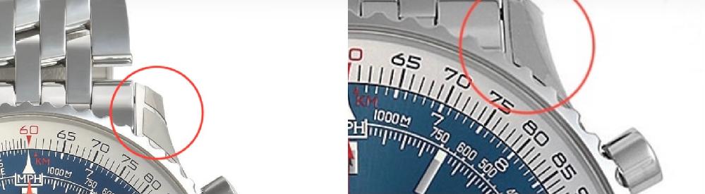ブライトリングのナビタイマーB01クロノグラフ46について質問です。購入を考えていて、ネットで調べていたのですが、ケースが微妙に違うのです。 この違いが分かる方はいらっしゃいますか?どちらかはコピー品なのでしょうか?