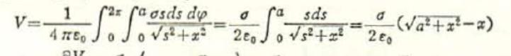 半径a、幅dsの微小円盤の領域に一様な電荷密度σが存在したとき、円盤の中心軸上の中心からxの距離の点の電位は、以下の式で与えられます。 無限遠に広い平面に一様な電荷密度σが存在するとき、平面から距離xの点の電場は -(σ/(2πε0))x となります。 図の式において、a→∞とすると、無限遠に広い平面に一様な電荷密度σが存在するのと同じ効果になりそうな気がしますが、 a→∞の極限では、図の式はVは∞に発散するように思います。 この矛盾?をどう説明すればよいのでしょうか?