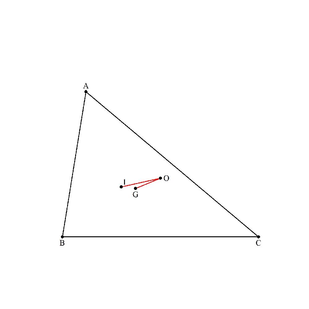 任意の△ABCの外心をO、内心をI、重心をGとするとき、 ∠IOG<30° であることを証明してください。 (創作問題100再掲)