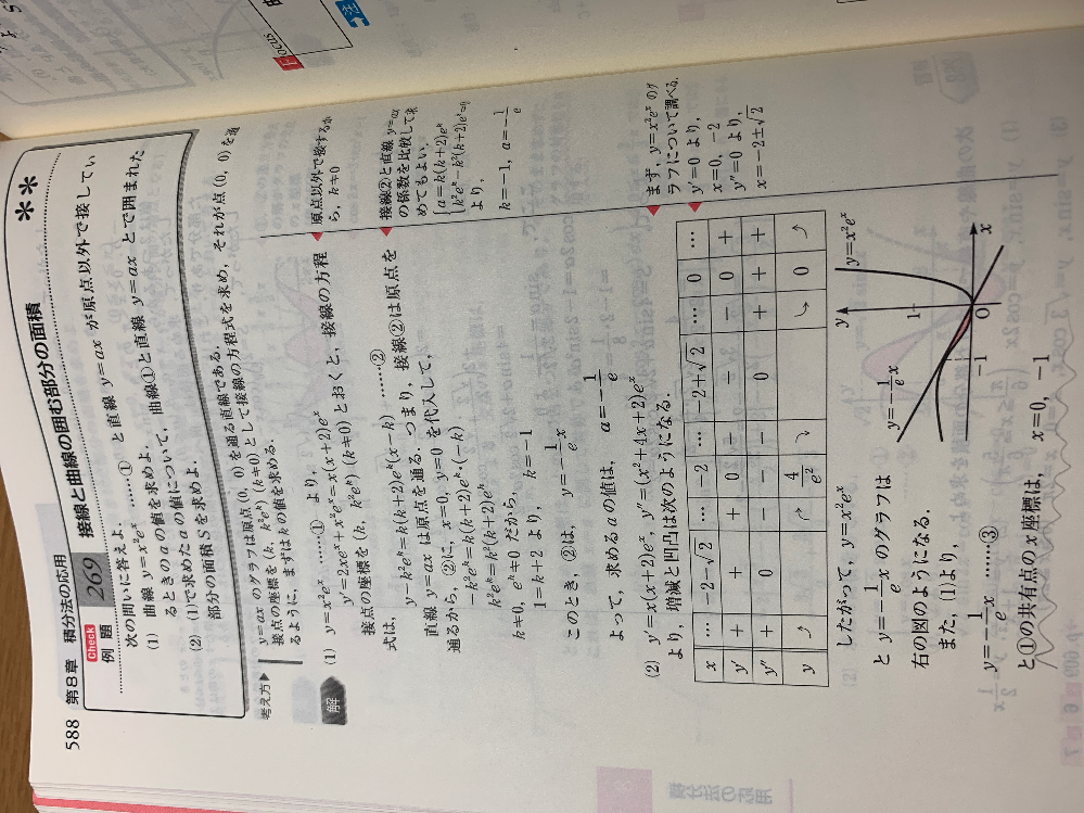 波線部 の共有点を求める式の計算の途中がわからないです。 途中式をお願いします!