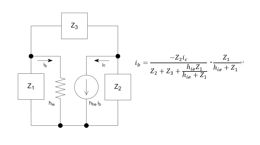 電子回路のトランジスタ等価回路についてです。 i_bの式で,分流していることはわかるのですが,-Z2icが何を指しているのかがわかりません。符号がなぜ負になっているのかも含め,教えていただけると幸いです。 よろしくお願いします。