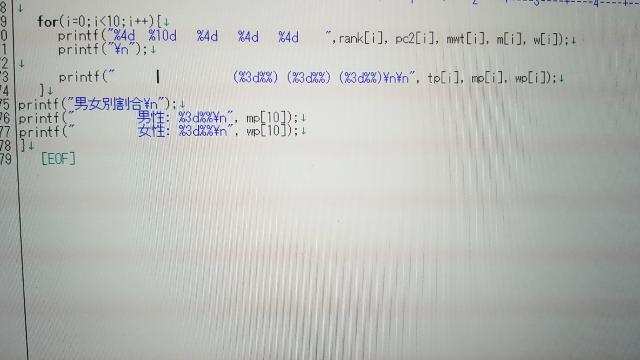 C言語で質問です。 画像のm(i)とw(i)の人数をグラフ(ヒストグラム)にして出力し、m(i)の人数は * で出力、w(i)の人数は # を出力させたいのですが、この後どうゆうプログラミングを...