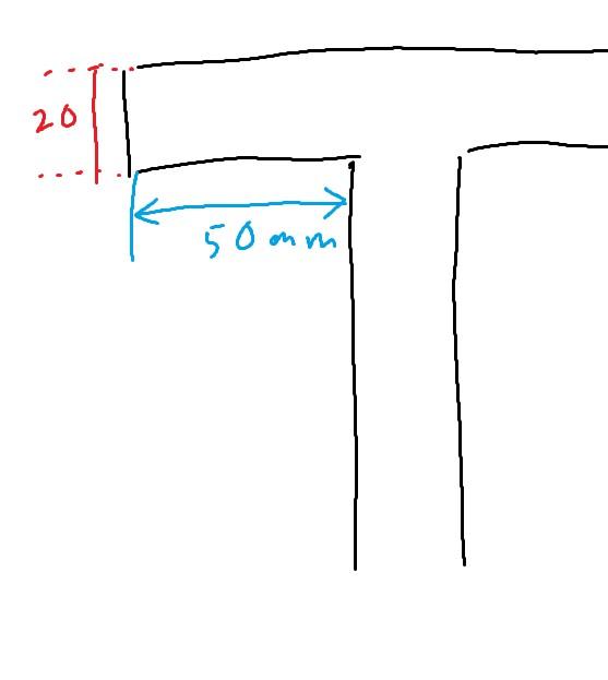 モニターアームについて。 デュアルディスプレイ用のモニターアームを探しているのですが自分の机は天板の厚さが20mm,また天板の下に板がついており天板裏面の奥行が50mmしか取れません。机に穴をあけることは厳しいのでクランプ式のアームを探しています。 これらの条件に合うものを教えてください。 手書きですが画像を付しました。机を横から見た図で画像右側が机の正面です。