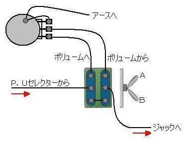 エレキギターにダイレクトスイッチとキルスイッチを増設したところ、ダイレクトスイッチが機能してる間(PU → PUセレクター → ジャック)だとキルスイッチが機能しない配線になってしまいました。どこを直せば良いか 教えてください。キルスイッチはボリュームポットの1と2の間に2pの押しボタンが入る感じです。ダイレクトスイッチの配線は画像を参考にしました。