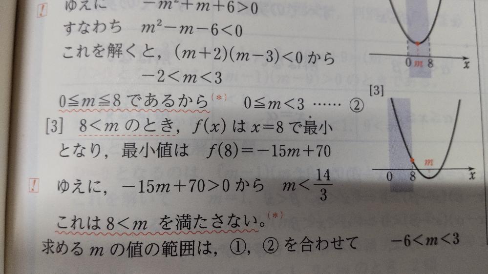 8<mのときなぜ8で最小になるのですか?8を含む理由がわかりません。誰か教えて下さい
