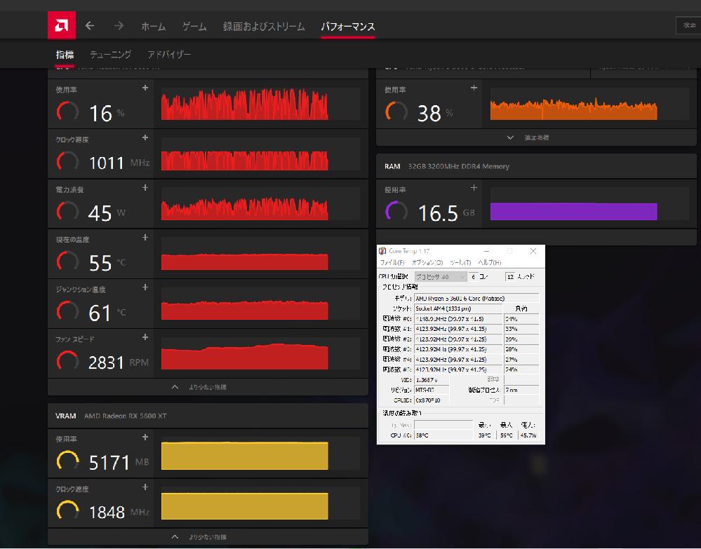 自作PCのGPUについて こんにちは。早速本題に入らせてもらいます。 私が去年の冬自作したPCでのトラブルなのですが、FPSゲームのAPEXをプレイしている最中画像のようにGPUの使用率や周波数...