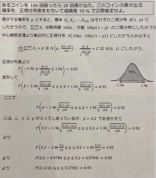 この写真のNは(100p,100p(1-p))を100で割って N(p,p(1-p))になるかと思ったのですがなんでN(p,p(1-p)/100)になるんですか? あと、p=0.2で置き換える理由も知りたいです! 教えてください( ; ; )