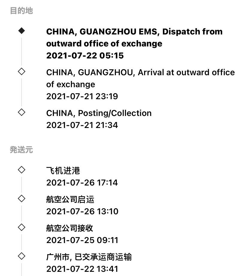 初歩的な質問で申し訳ありません。 チャイナポストのePacket 発送になります。 17TRACKで調べたところ 飞机进港 となっていまして、これは飛行機が着いた、もしくは経由中の表記の様なのですが、そもそも発送地やこの表記の到着地地名が一切出ていません。 それまでの情報にはちゃんと地名が出ていました。航空公司启运や飞机进港 となっていてトラッキング上で地名が出ていないのはどういう状況なのでしょうか?教えて頂けると助かります。