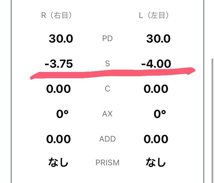 写真の下線を引いてあるところなんですが、こちらメガネ市場のアプリのレンズの詳細のところなんですけど、これがメガネの度数(正確には違うかもしれませんが)でいいんですよね? 合ってましたらこちらをコ...