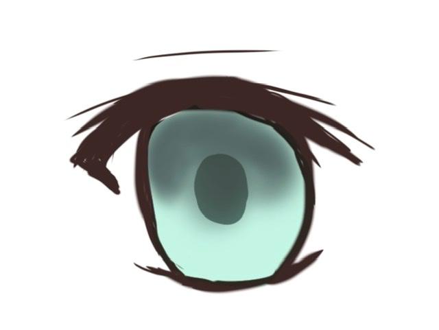 目の描き方がわかりません。 アイビスで絵を描いているのですが、目の描き方がさっぱりわかりません。 講座等見ているとエアブラシで濃い色で影を塗ると書いてありますが、私がやると画像のように全然色が出なくて変になります。 もっと深みを出したいのですがどうすればいいのでしょうか? エアブラシ標準を使っていますがなぜこんなに色が出ないのでしょう? あとレイヤーもわからないのでとりあえず全て乗算にしてますがそういうのも初心者でもわかるような講座はないでしょうか?