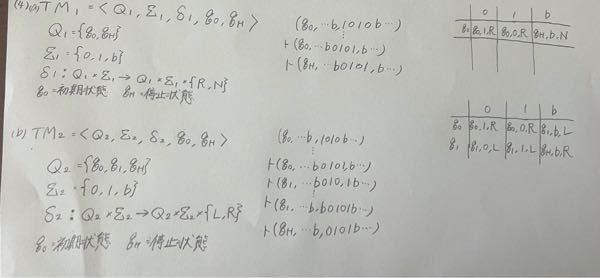チューリング機械について質問です。 下の問題について自分の回答は写真に添付します。 正解や、解き方も教えていただけたら嬉しいです。 問題 『0と1を反転させる』チューリング機械を考える。但し、...