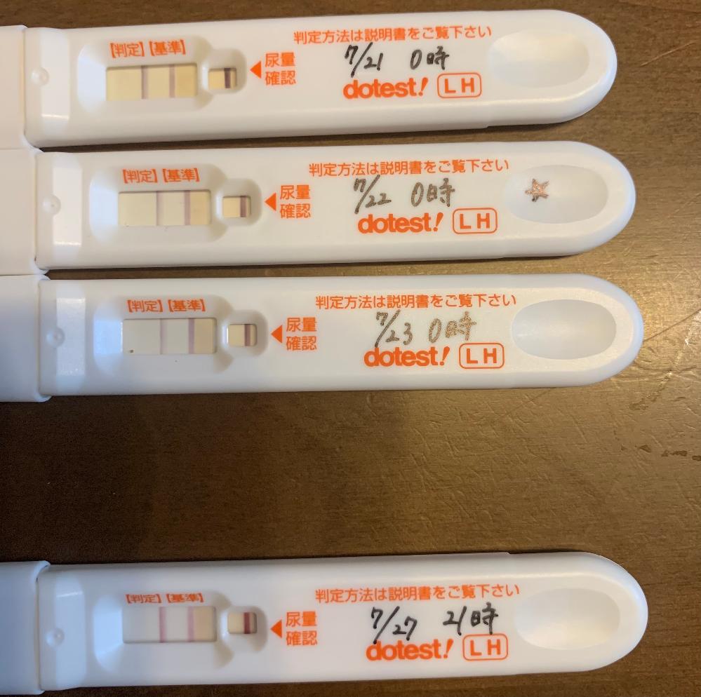 タイミングについて※排卵検査薬写真あり 現在2人目妊娠を希望しており、 生理周期がやや不規則のため排卵検査薬で タイミングを調べています。 できれば男の子がいいかなという気持ちもあり、信憑性は...