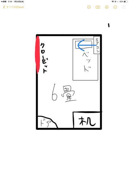 図見てください。エアコンの位置悪すぎです?縦長の6畳の部屋なのですが取り付け位置が縦の部屋に対して横向きになってしまい非常に効きが悪いです。家族が他の部屋にも同じタイミングで同じエアコンを取り付...