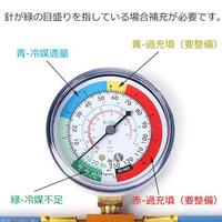 クルマのエアコンのガスチャージについてです。  よくメーターの青の範囲に針があればガス量が良好な状態と聞きますが、これはコンプレサー作動時なんでしょうか? 自分の車は作動時が画像のメーターで2.1くらいで、コンプレサーが止まると3.6くらいに上がります。(上がり切る前に作動してしまいますが)  そもそもここの数字を見るのでしょうか?下の30とか40を見るのですか?