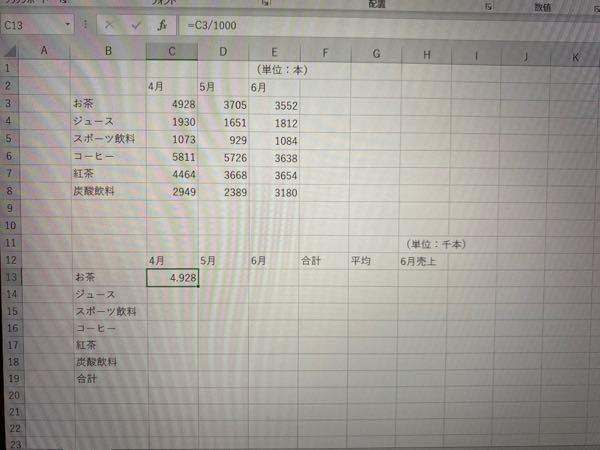 Excelについて質問です。 Excelを取り扱う授業で、写真のファイルとともに、以下のような問題が出ました。 「C3の1本単位の数値を、C13に千本単位で表示しましょう。(上の表の数値を1000で割り、下の表に表示する。)その際、関数を使って小数点第2位を四捨五入し、小数点第1位まで表示しましょう。」 四捨五入ということはround関数を使う、ということは何となく分かるのですが、何をどうすればいいのか分かりません。 とりあえず、C3を1000で割ってみたのですが、この後どうすればいいでしょうか。 わかる方が、いらっしゃいましたら回答お願いします。 よろしくお願いします。