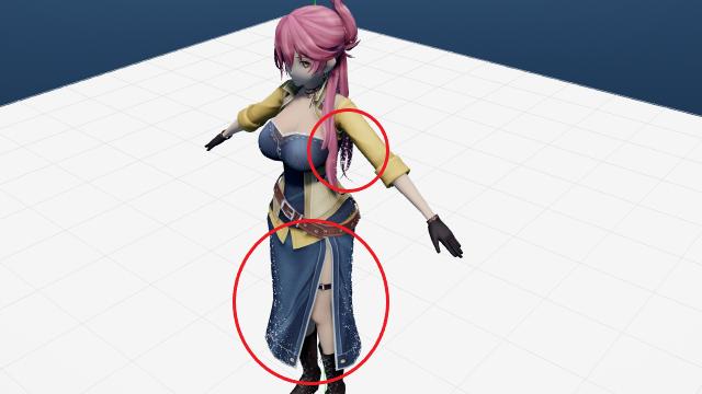 ray mmdでモデルにマテリアルを適用した際、穴のようなものがある skyboxを読み込み、ray.xを適用し、Time of lighting.fxを適用した状態で、モデルを読み込み、main.fxを適用した状態が画像のようになっています。 なぜか穴が空いているような状態になってしまっています。穴が空かないようにする方法はないのでしょうか