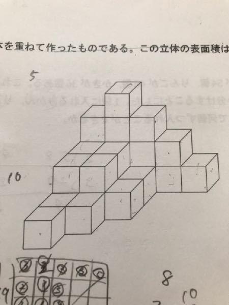 この図形の表面積を求めろという問題です。 正面図、側面図、平面図の面積を足して2倍すれば求まるらしいのですが、なぜそういえるのでしょうか?
