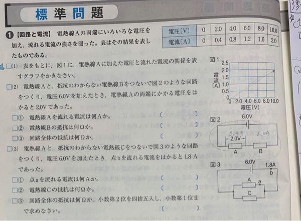中学理科です。 写真にもある通り、図2の抵抗A.Bの電流がそれぞれ0.4Aなんですよね、直列回路ではどこも同じ電流が流れるというのは分かるのですが、それなら電源の6.0Vをグラフで見たときに書いてある1.2Aでないのですかね、100歩譲って抵抗の2.0Vをグラフから見て0.4Aとしたとき、なぜ抵抗Bまで0.4Aになるのですか? 知恵をお貸しください。