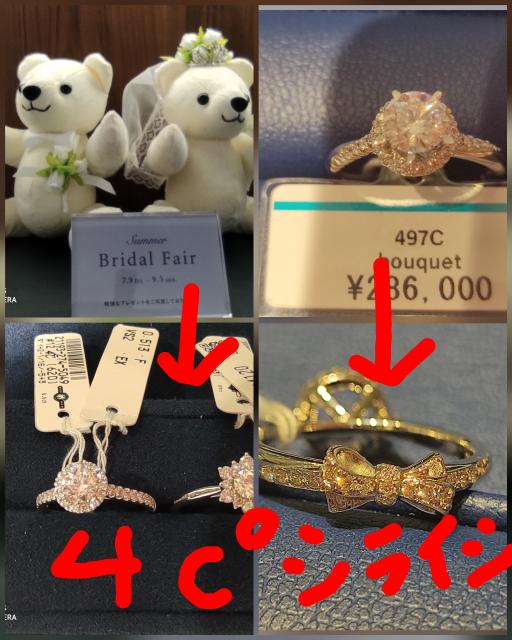何度もすみません。 婚約指輪ですが4℃とダイヤモンドシライシで迷っています。 4℃はくまちゃんが欲しいです。 ダイヤモンドシライシは指輪の裏がリボンで彼氏と友達に私の個性に合っていると言われます。 ダイヤモンドシライシはクーポンがあるので少し安く買えますが、どっちも価格帯と4Cは同じくらいです。どちらもプラチナです。