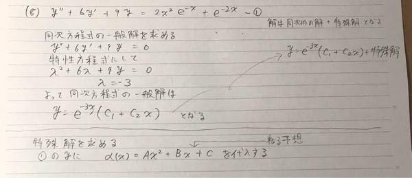 微分方程式の問題です 2階線形微分方程式 非同次形で 特殊解をどのような形で求めたらいいですか? よろしくお願いします!