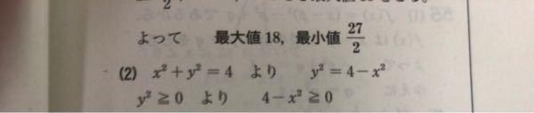 解説がよくわかりません。なぜX^2+Y^2=4 だと、Y^2≧0より、となるのですか?