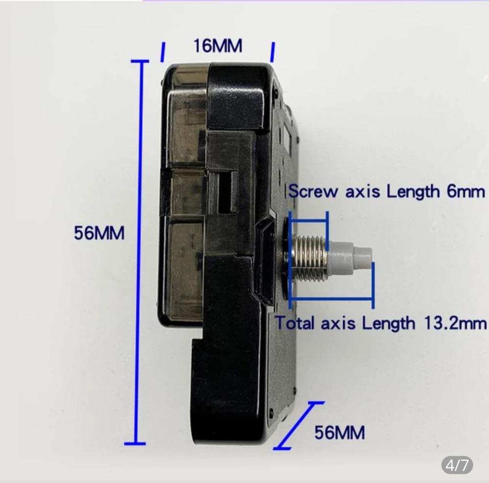 時計修理について 壁掛け時計が止まってしまい、ムーブメントを外して色々と試してみましたが最終的にムーブメントを取り替えることにしました。 SUZUKIのHS88という型式のサイレントムーブメントなのですが、現在は販売されていないようです。 壁掛け自体とても気に入って購入したのでムーブメントを変えてなんとかなるなら使いたいと思っています。 そこで今現在発売中でHS88の変わりになるムーブメントがあれば教えてください。 HS88の詳細は写真の通りです。 わかるかた、よろしくお願いします。