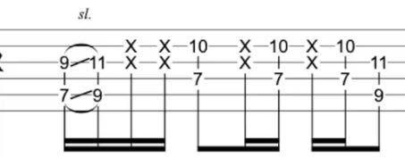 ギターの余弦ミュートについて。写真のようなオクターブ奏法の場合、中指と薬指で6弦、5弦のミュートをするのでしょうか?力が入ってしまい普通に抑えてしまうのですが、、