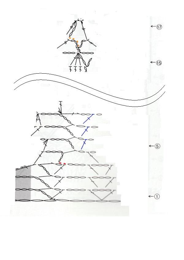 『毛糸だま2021春号』のP18の作品を編んでいます。以前も編み方を質問しました。 https://detail.chiebukuro.yahoo.co.jp/qa/question_detail/q14245880489 また、3点質問です。 1. 3段目から4段目の間に引き抜き編みがありますが、これって必要ですか?3段目最後の長編み→鎖編み1目→立ち上がりの目を拾って中長編み、で、そのまま4段目の立ち上がりを編めばいいと思うのですが。 2. 5~7段目の最後の目の拾い方です。以前の質問で、2,3段目の最後の長編みは中長編みの頭を拾うとのことでしたが、5~7段目の最後の長編みの根元は鎖編みですよね。ここは、鎖を割って拾うのか、それとも束に拾うのかどちらですか? 3. 17段目を編み始める時に、立ち上がりの移動がありますが、鎖編みのところの引き抜き編みは、鎖目のどこに針を入れたらいいですか?筒編みで立ち上がりの鎖を引き抜く時と同じですか? よろしくお願いいたします。